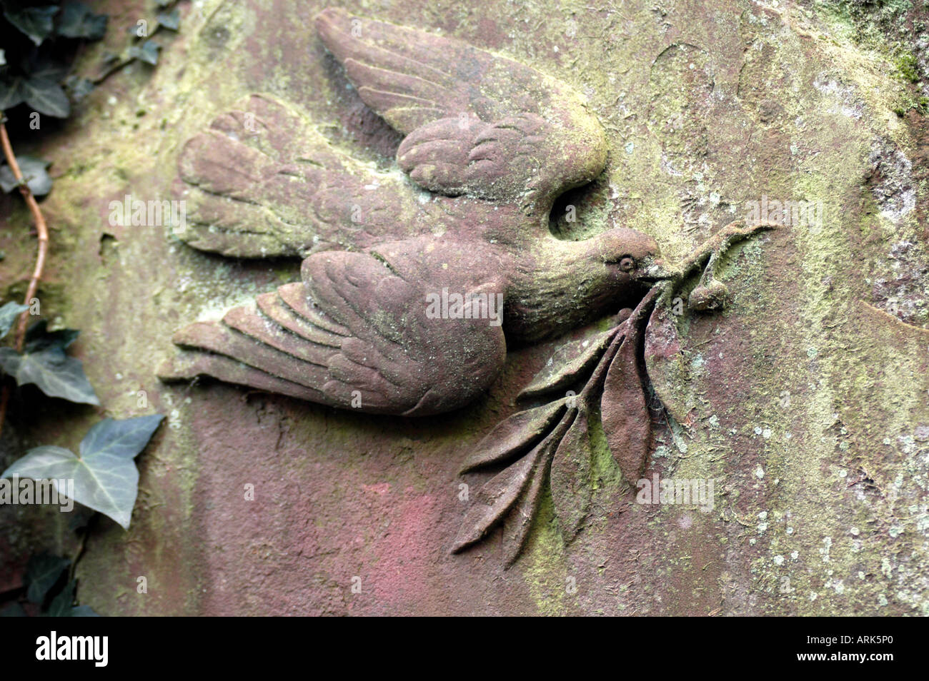 Symbolic photo: dove with olive branch as a relief. Churchly symbol and sign of peace. - Stock Image