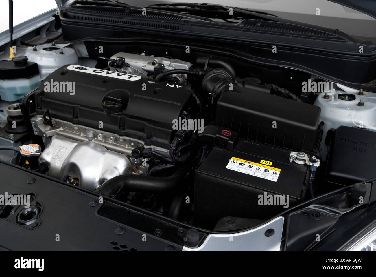 2008 Kia Rio in Silver - Engine - Stock Image
