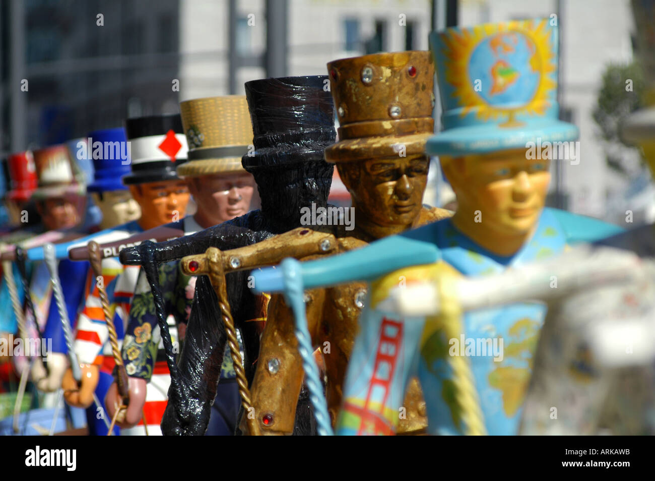 Attraction for tourists: the colorful symbols of Hamburg - the 'Hans Hummel' statues. Hamburg, Germany - Stock Image