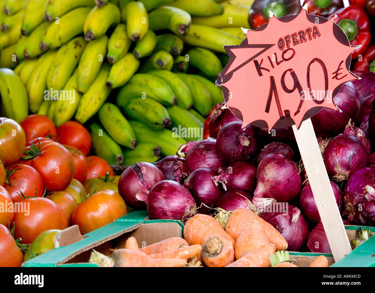 Close-up of Fruit and Vegetable stall in San Fernando Market, Gran Canaria - Stock Image