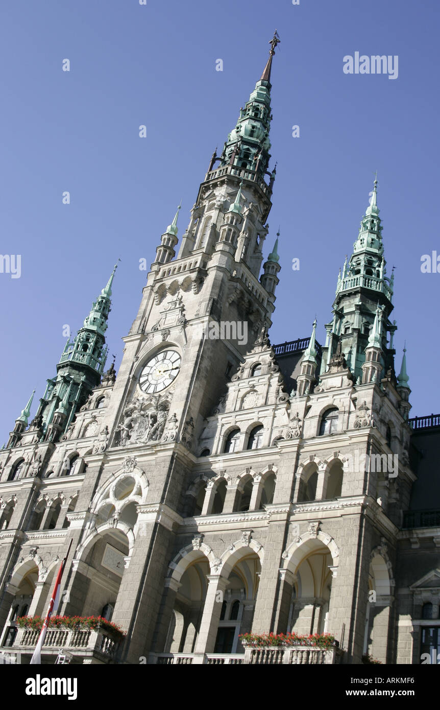 Town hall  in Liberec,Czech Republic, built 1888-1893 in Neorenaissance Stile by the Vienna Architect F.Neumann. Stock Photo