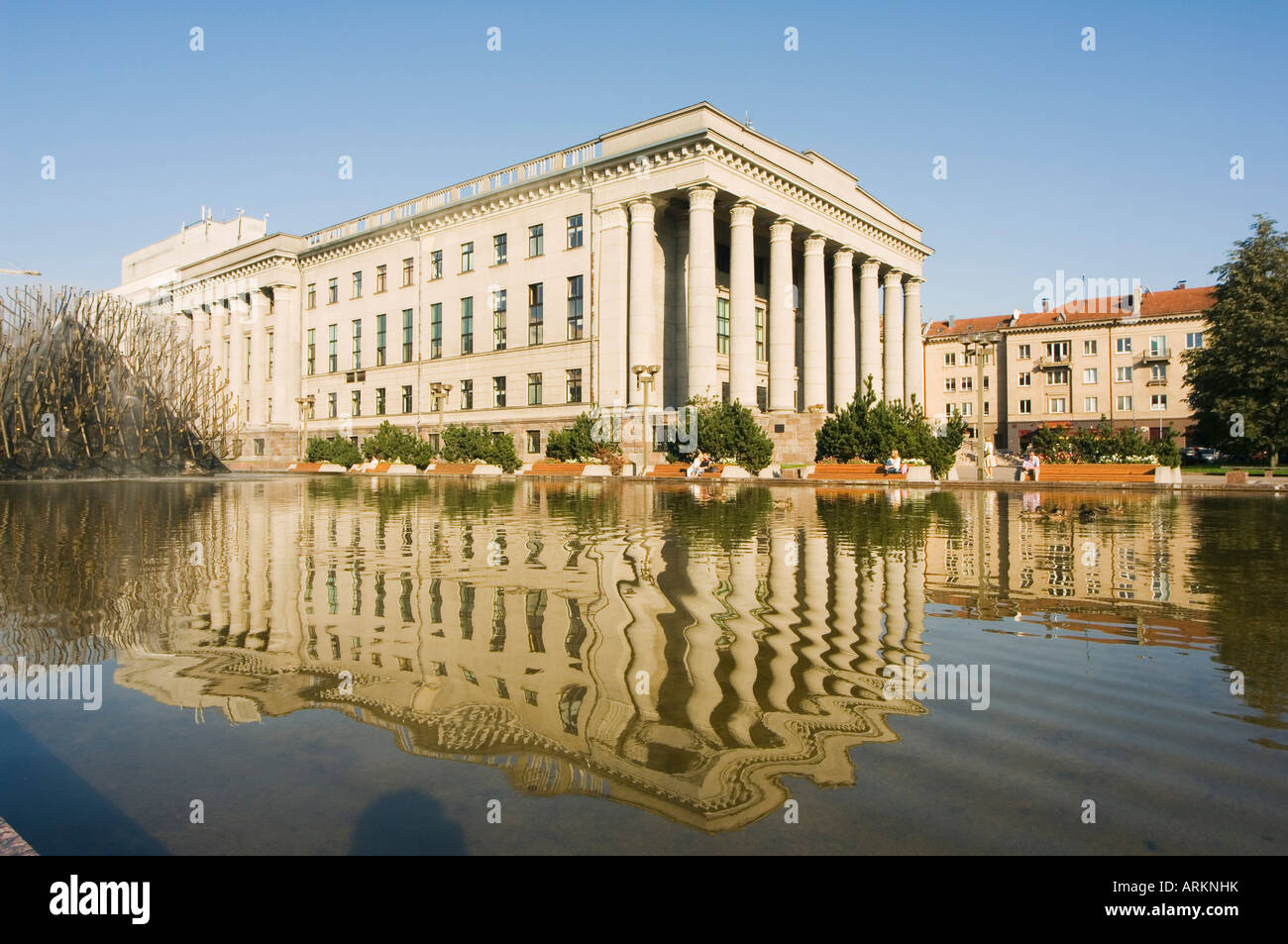 Parliament building with reflection in water, Vilnius, Lithuania, Baltic States, Europe - Stock Image