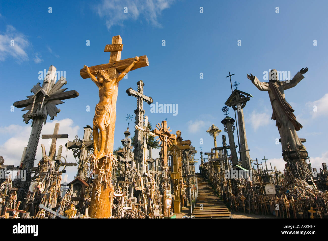 Hill of Crosses, thousands of memorial crosses, a tradition of planting crosses since the 14th century, Lithuania, - Stock Image