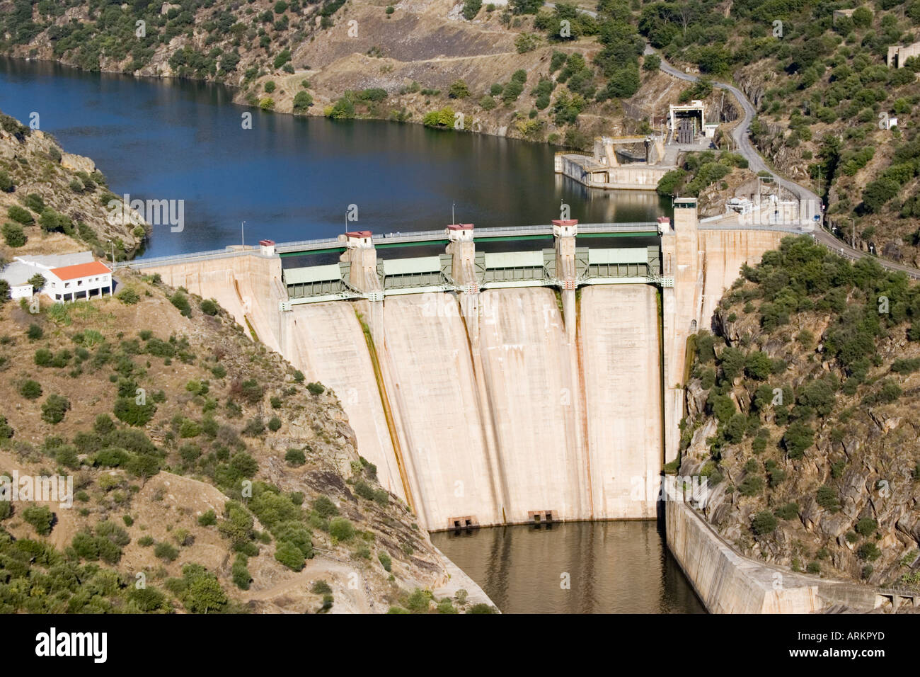 Shared hydroelectric dam at Barca de Alva on Rio Doura on Spanish Portuguese border taken from Spain - Stock Image