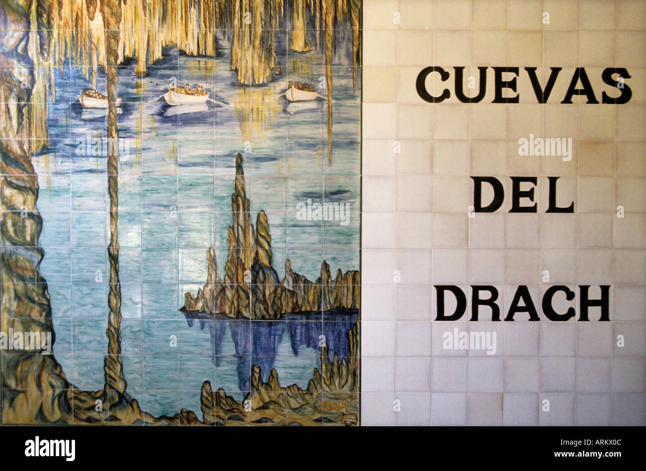 Painted Tiles At The Entrance Of Cuevas Del Drach Mallorca Spain