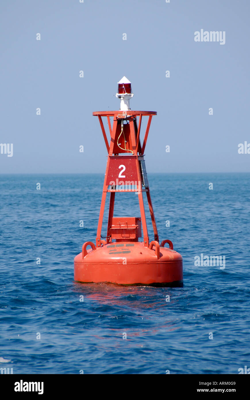Buoy are floatation devices intend to be used as markers and directional finders on waterways Stock Photo