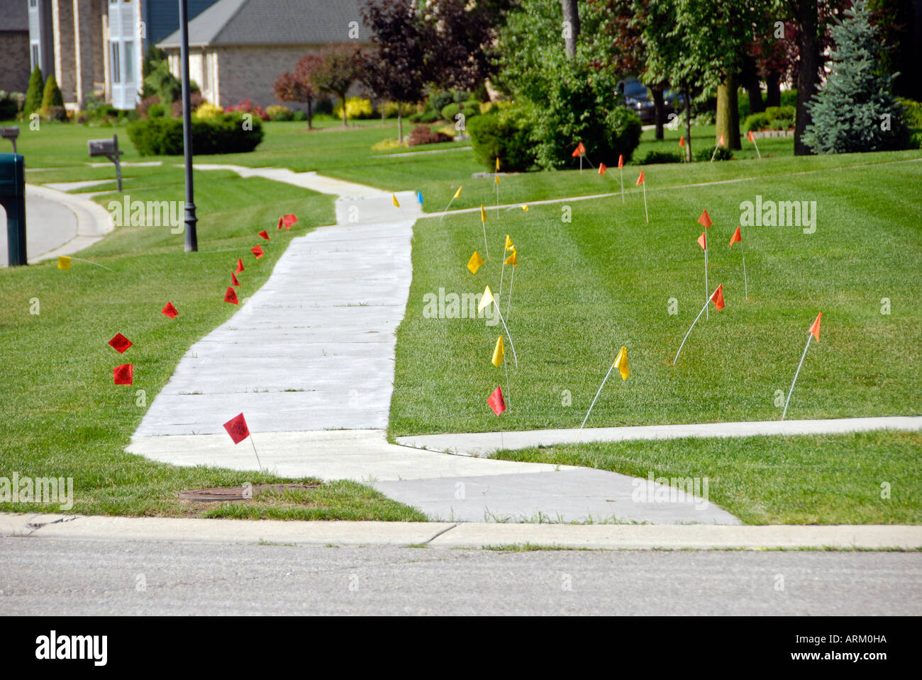 Flags Put On Residential Lawn By Miss Dig Identifies Hazardous Areas Stock Photo Alamy Click here for more information. https www alamy com flags put on residential lawn by miss dig identifies hazardous areas image9189401 html