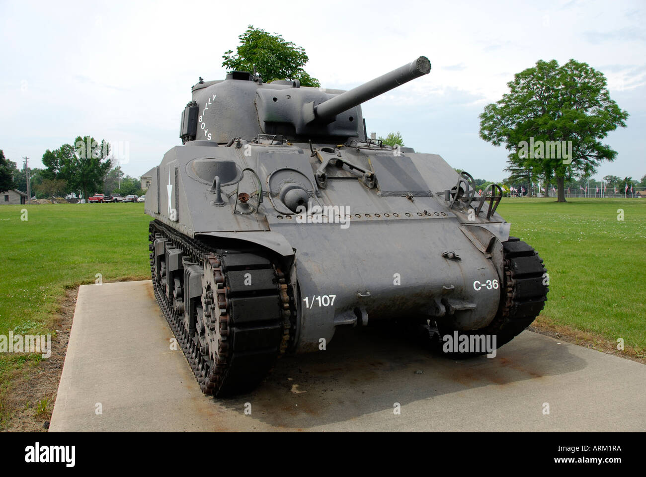 Mark I Sherman world war two military army tank located on the grounds of the Veterans Memorial Hospital at Sandusky - Stock Image