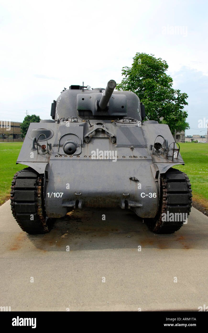 Mark I Sherman world war two military army tank located on the grounds of the Veterans Memorial Hospital at Sandusky Ohio OH - Stock Image