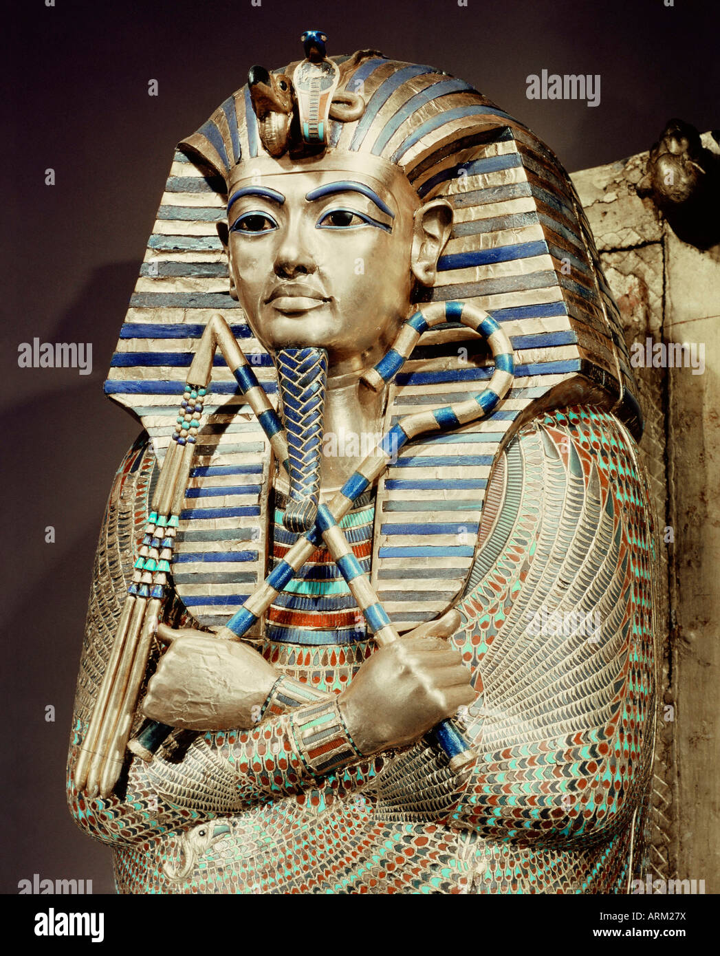 Detail of the second mummiform coffin, from the tomb of the pharaoh Tutankhamun - Stock Image
