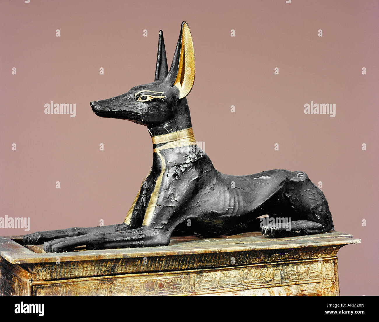 The king in the form of the god Anubis, from the tomb of Tutankhamun - Stock Image