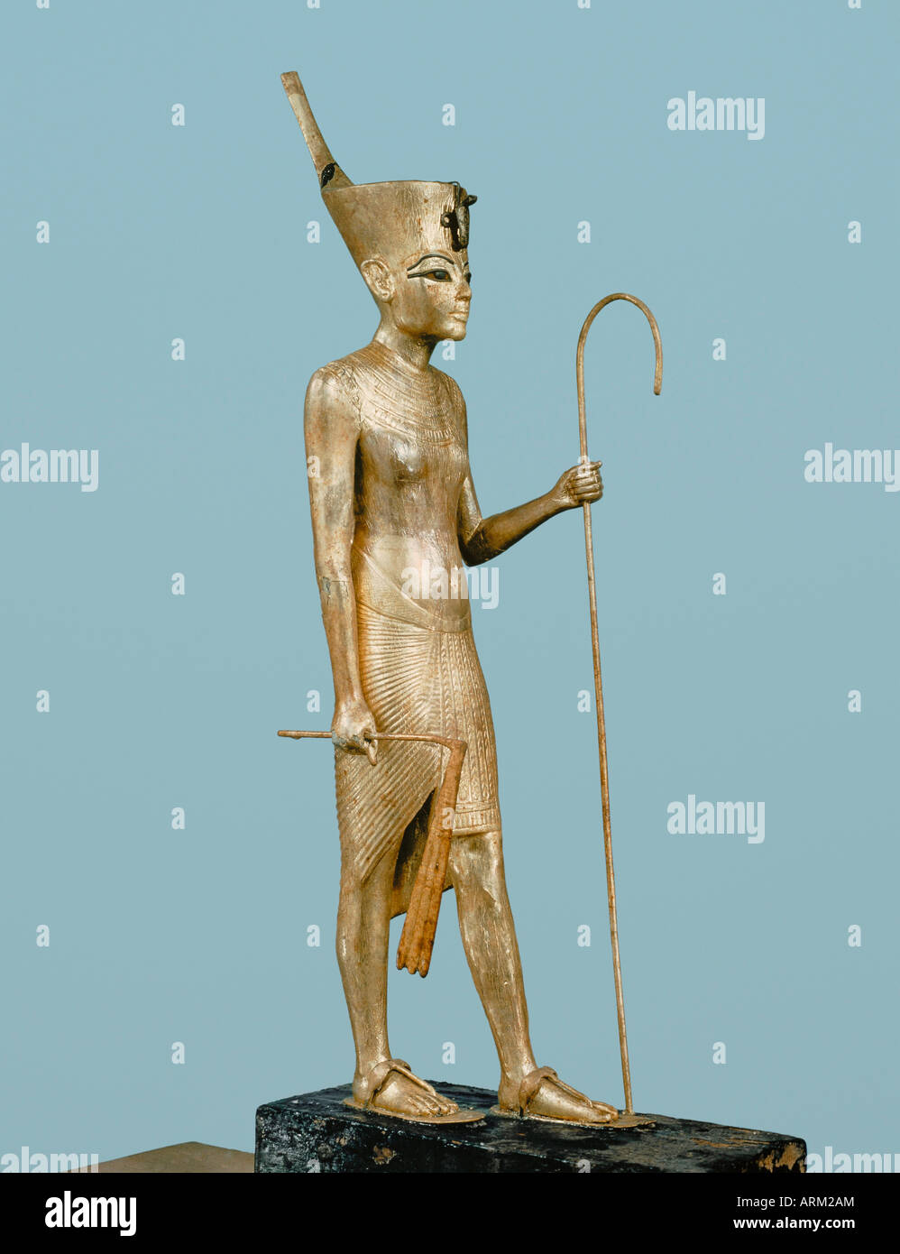 Gilt wood statuette of the king, from the tomb of the pharaoh Tutankhamun - Stock Image