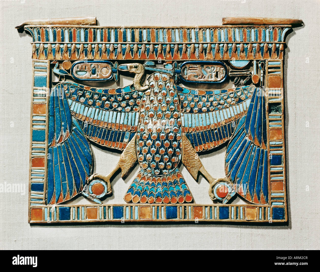 Pectoral decorated with the vulture of Upper Egypt, from the tomb of the pharaoh Tutankhamun - Stock Image
