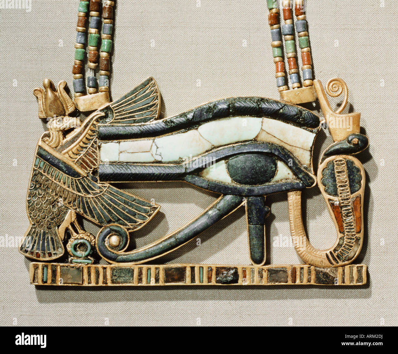 Pectoral of the sacred eye, from the tomb of the pharaoh Tutankhamun - Stock Image