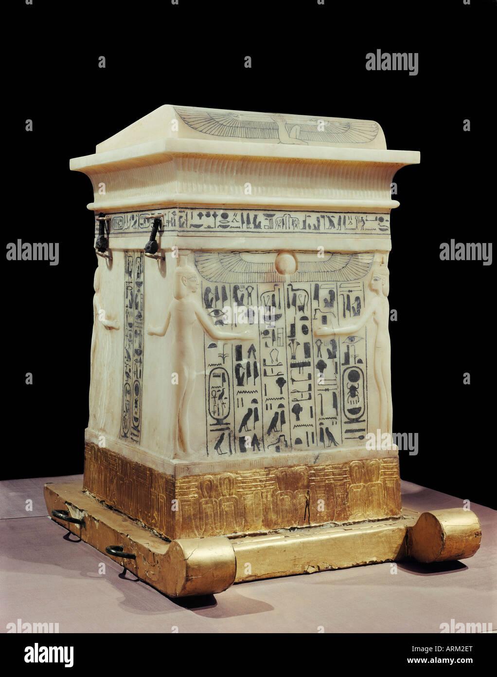 Alabaster canopic shrine, from the tomb of the pharaoh Tutankhamun - Stock Image