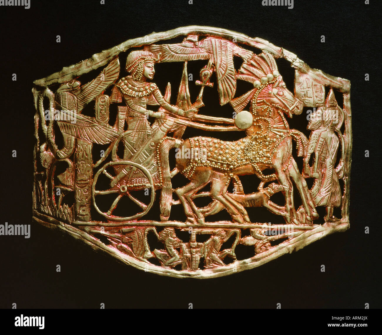 Red-gold openwork object, from the tomb of the pharaoh Tutankhamun - Stock Image
