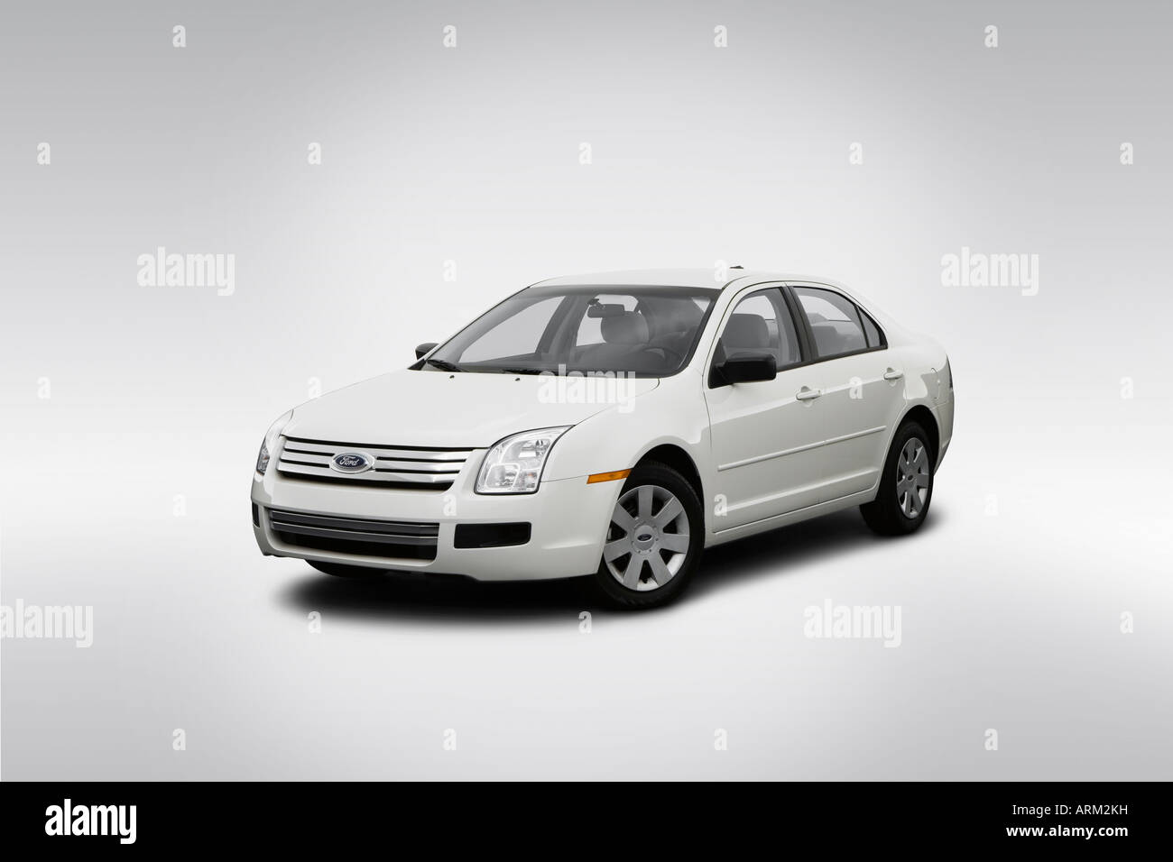 2008 Ford Fusion S in White - Front angle view - Stock Image