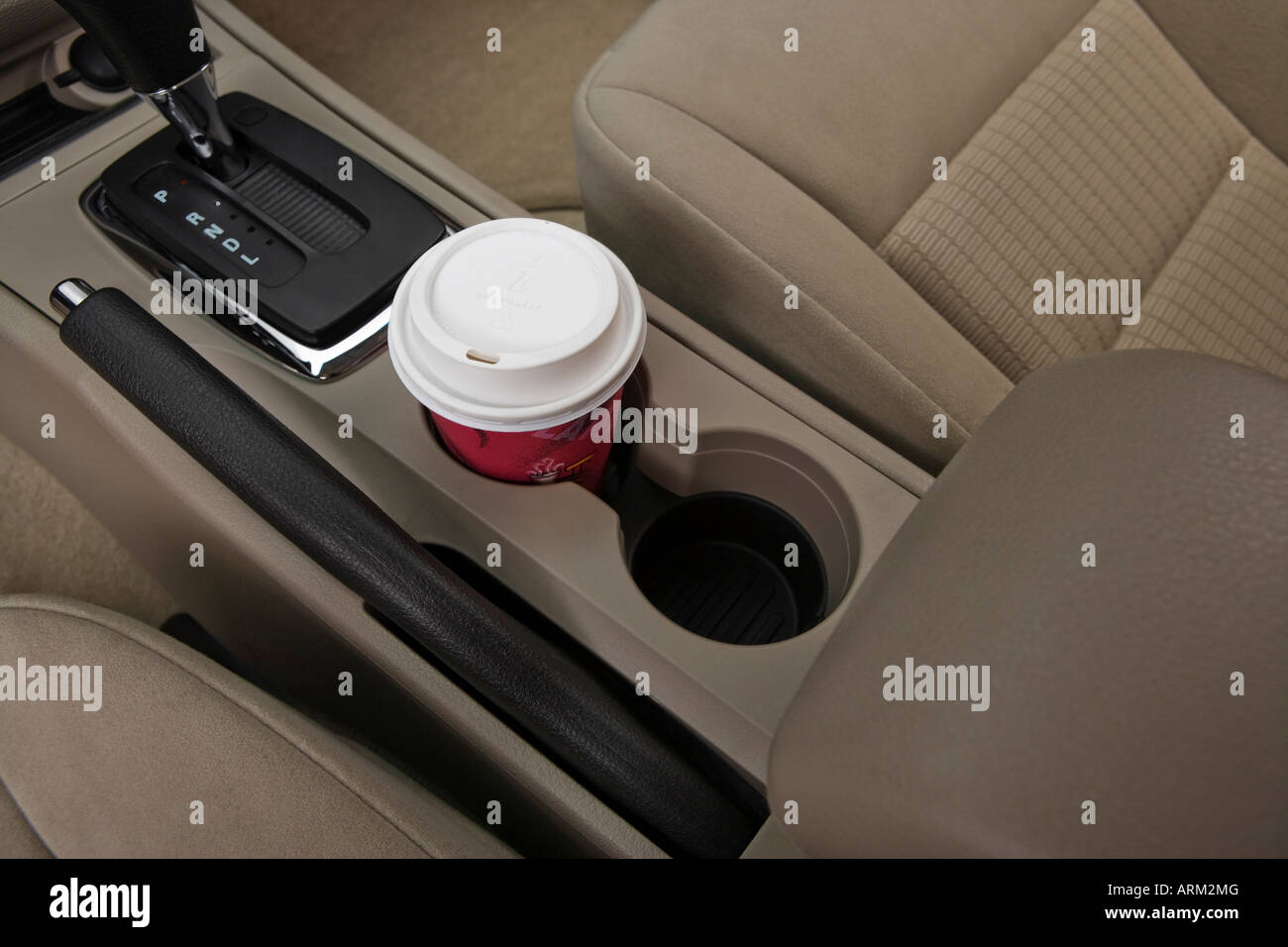 2008 Ford Fusion S in White - Cup Holder with Prop Stock Photo