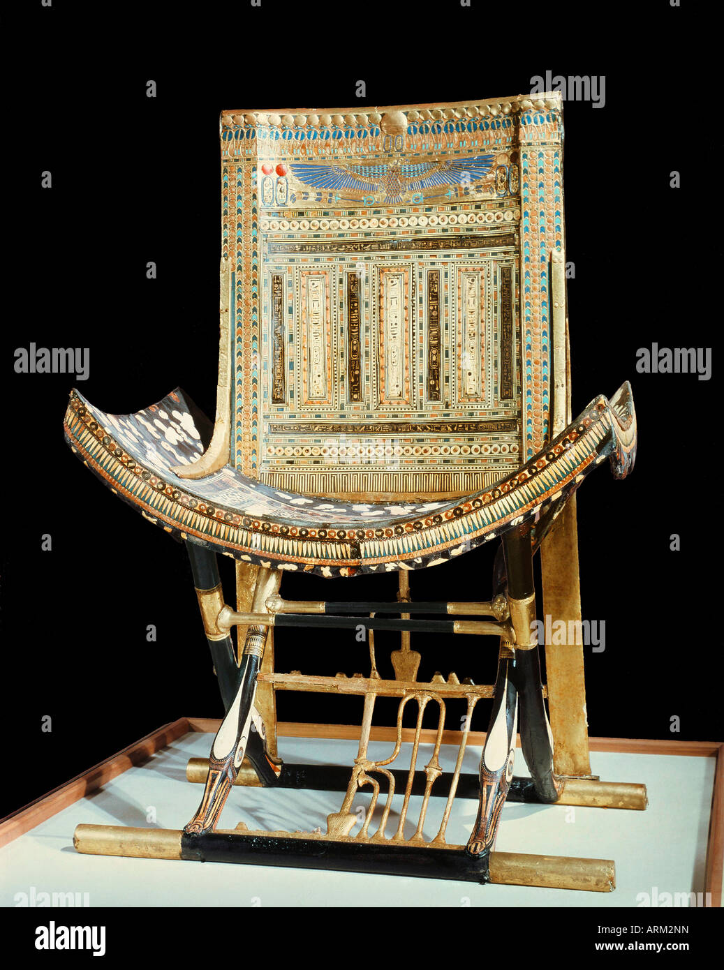 The ecclesiastical throne, from the tomb of the pharaoh Tutankhamun - Stock Image