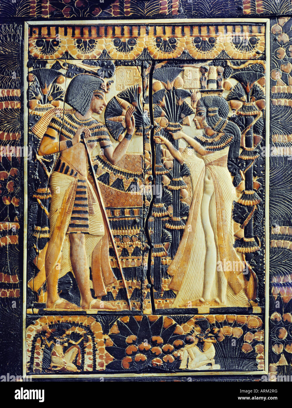 Painted ivory plaque, from the tomb of the pharaoh Tutankhamun - Stock Image