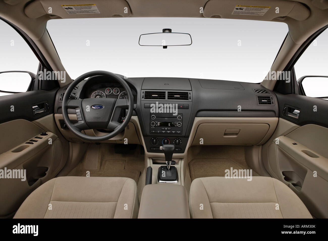 2008 Ford Fusion S in White - Dashboard, center console, gear shifter view - Stock Image