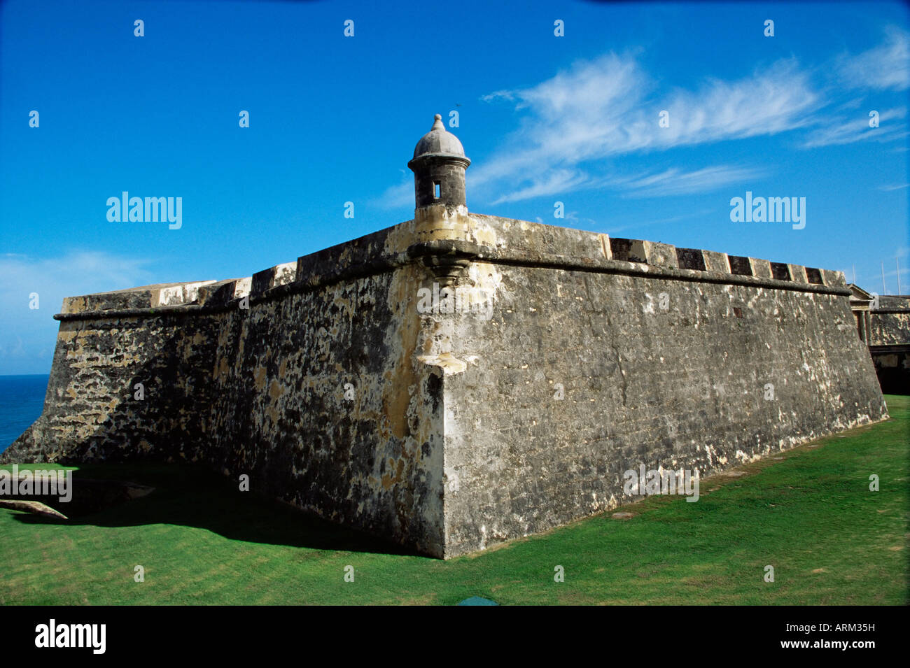Ancient fort, Old San Juan, Puerto Rico, West Indies, Central America - Stock Image