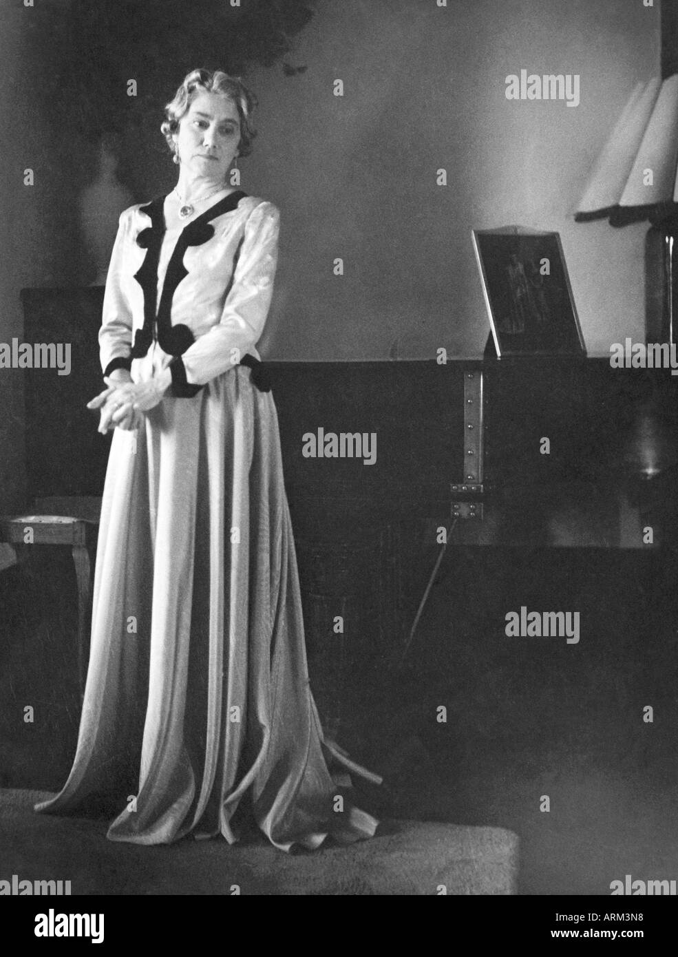 British women in gown evening dress portrait 1940 India Asia Stock ...
