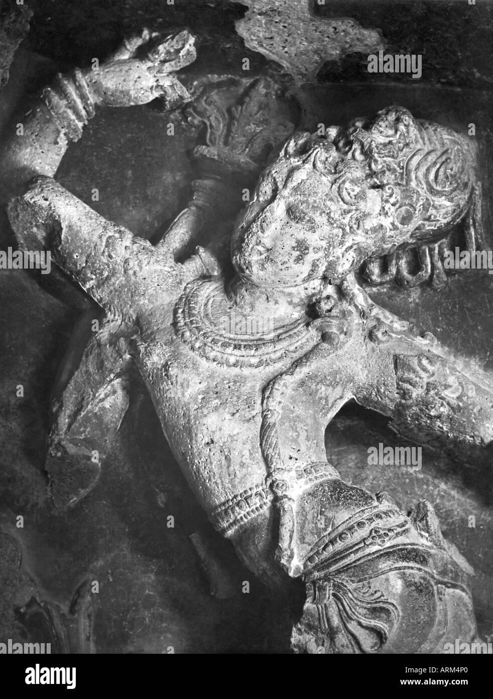 VRB101374 Lalit dance of Shiva sculpture at Ellora caves Aurangabad Maharashtra India 1940s - Stock Image