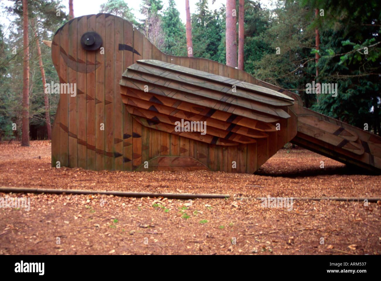 Wooden bird play attraction Rendlesham forest Suffolk England - Stock Image