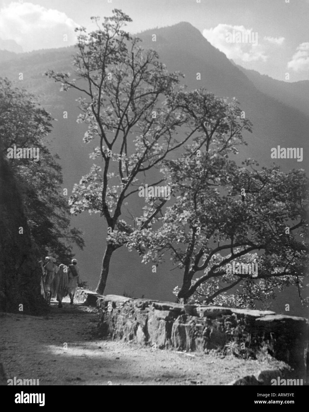VRB101269 People walking on trek in Himalayan region North India 1940 s - Stock Image