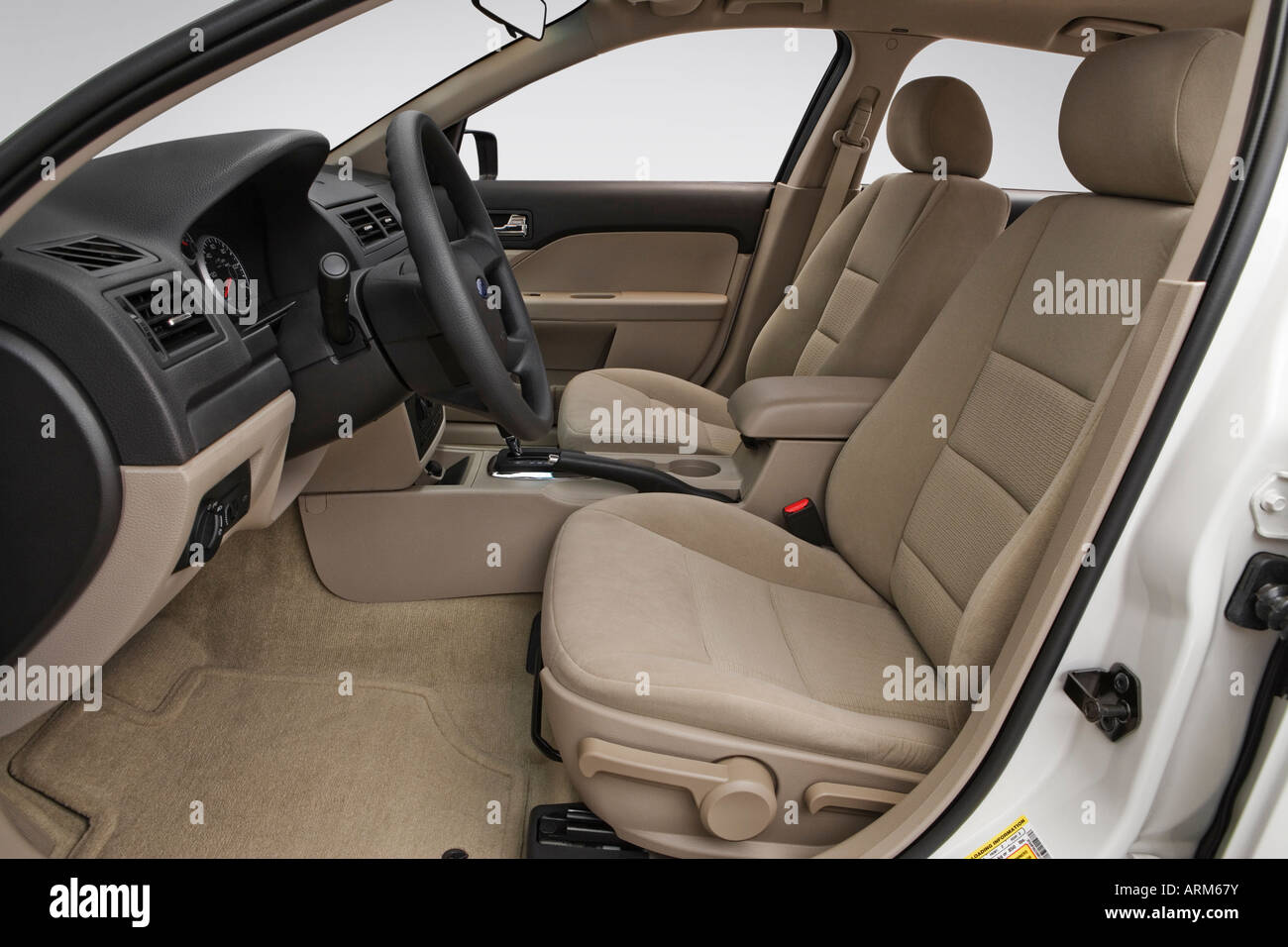 2008 Ford Fusion S in White - Front seats - Stock Image
