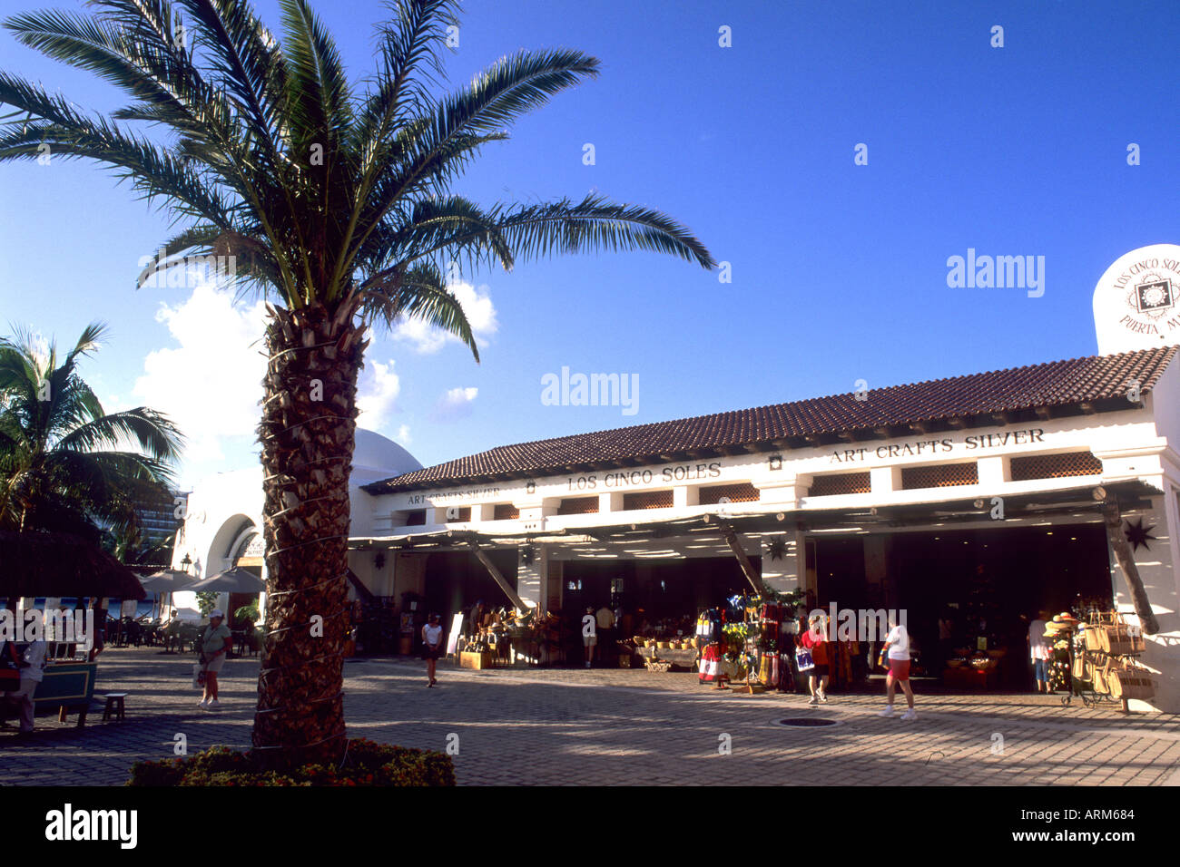 Tourists and at Puerta Maya Harbor Shops in Cozumel Mexico - Stock Image