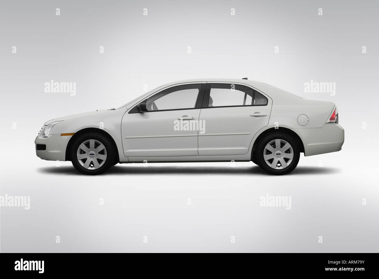 2008 Ford Fusion S in White - Drivers Side Profile - Stock Image