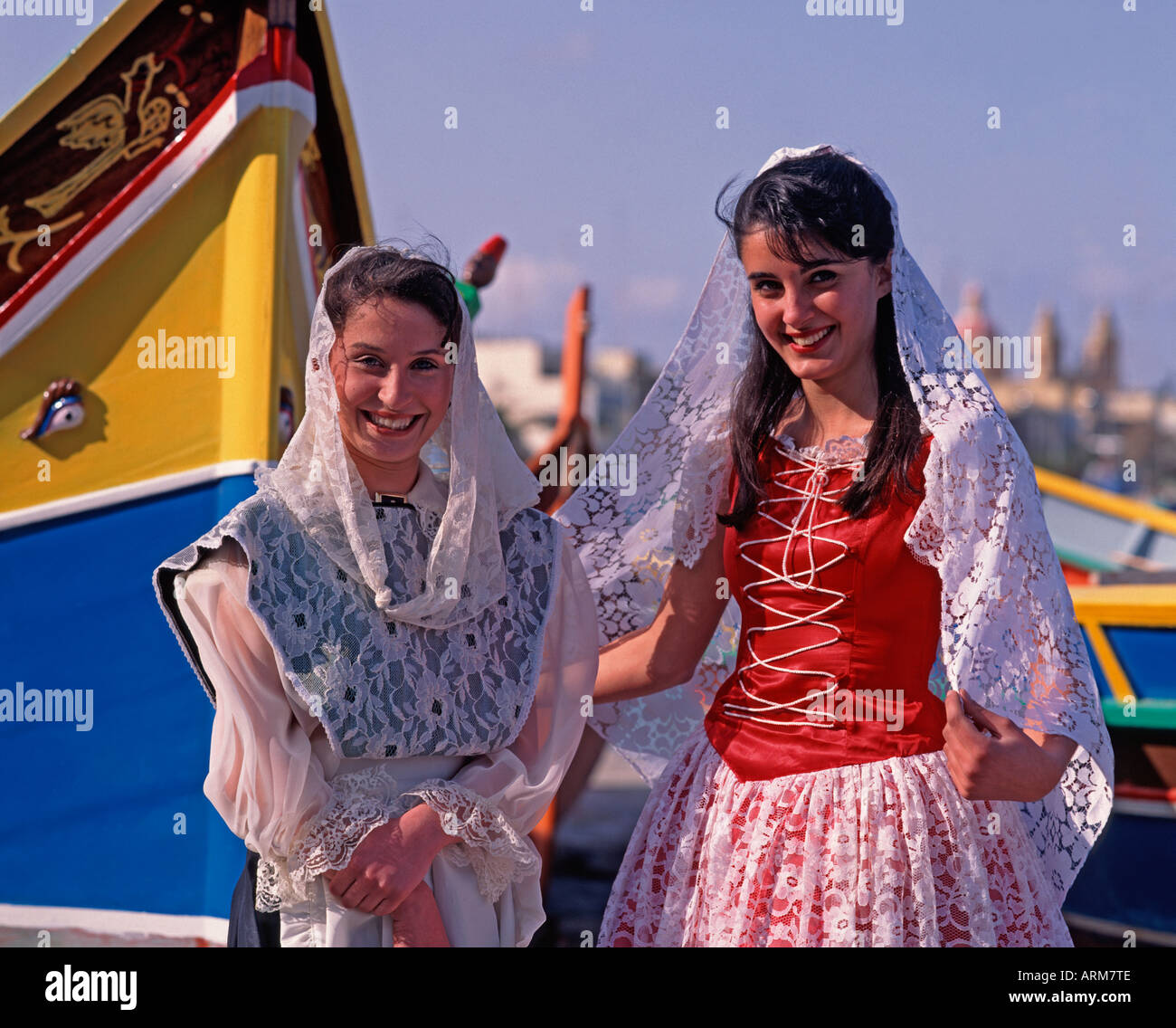 Women in National Dress Malta Stock Photo