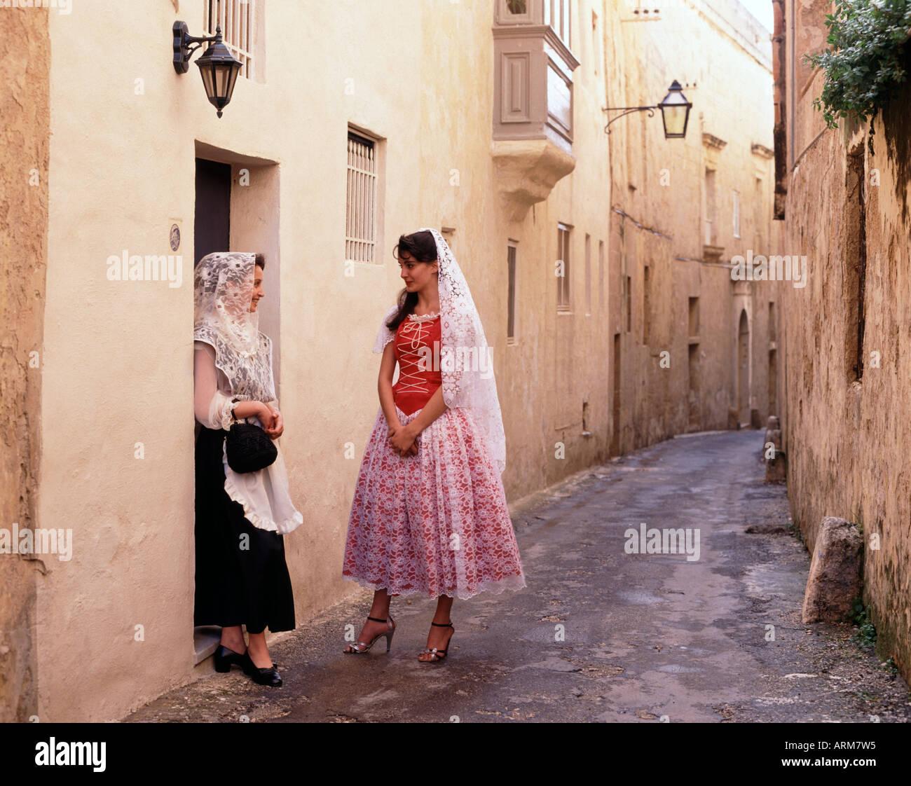 Women in National Dress Malta Stock Photo