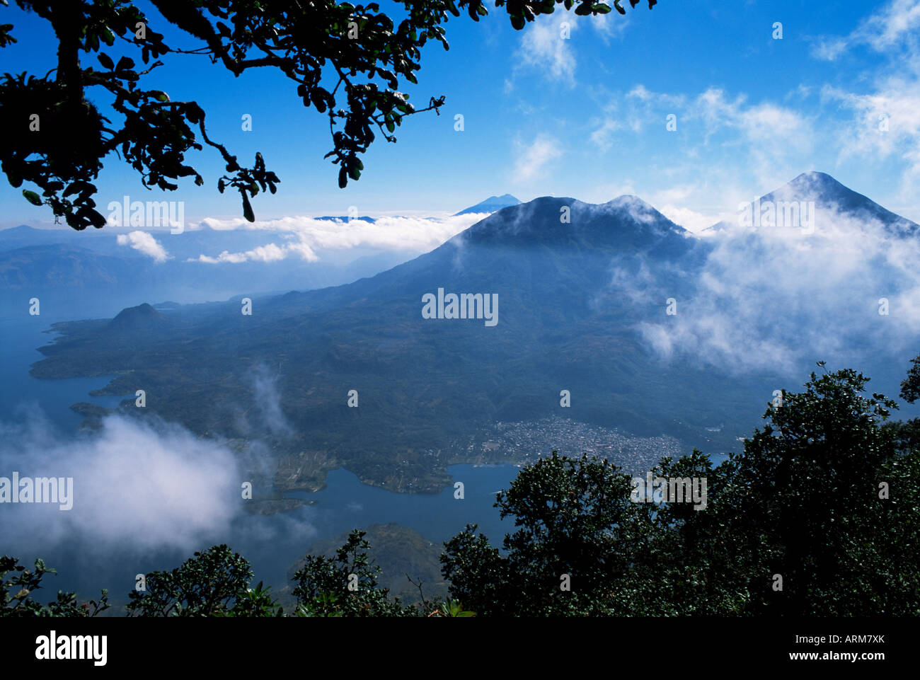 View of lake and town of Santiago, Lago Atitlan (Lake Atitlan), Guatemala, Central America - Stock Image