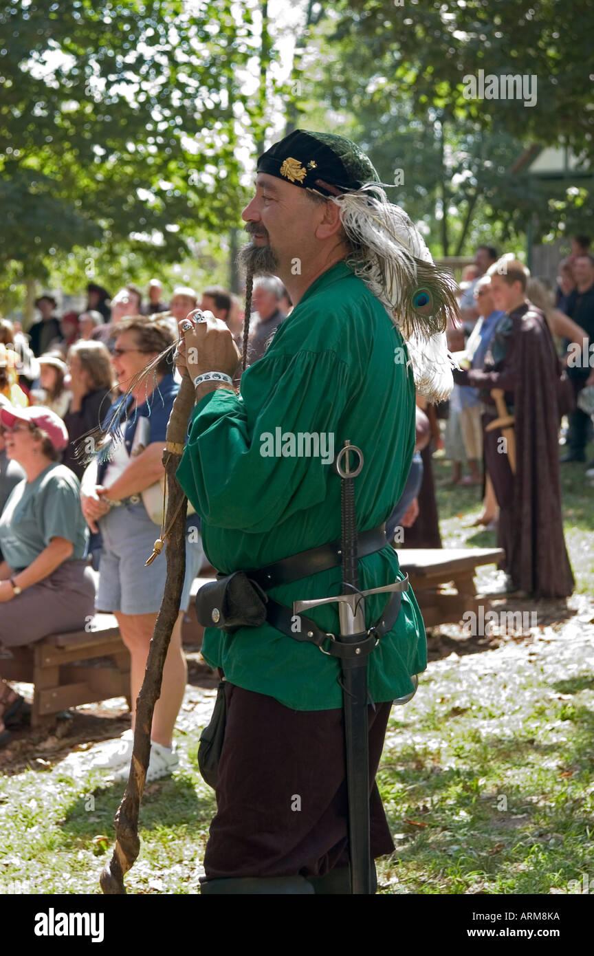 Armed personage watching show, Renaissance Fair,USA, Pennsylvania - Stock Image