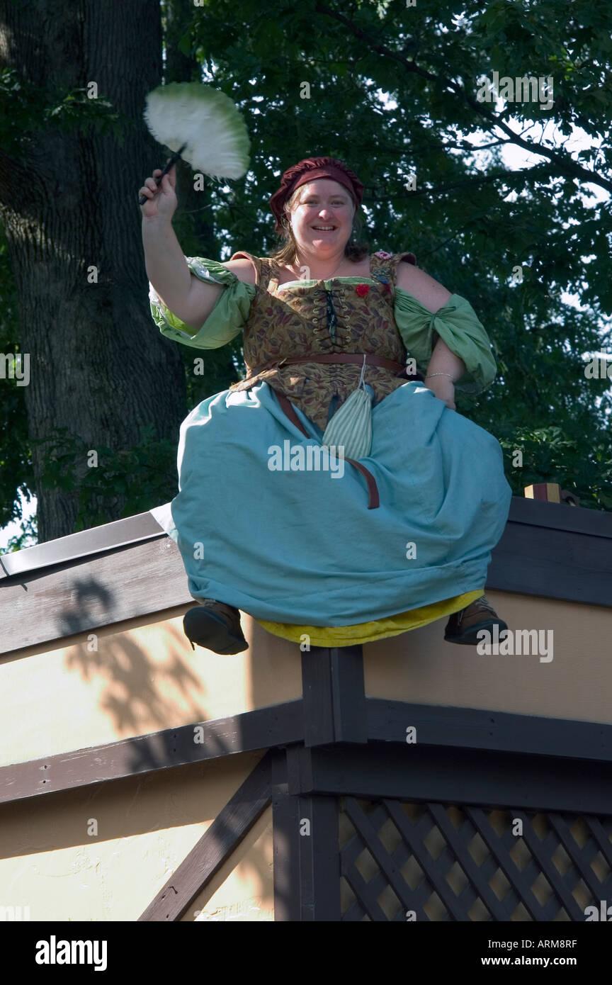Personage of fairy tale on the roof, Renaissance Fair,Pennsylvania,USA - Stock Image