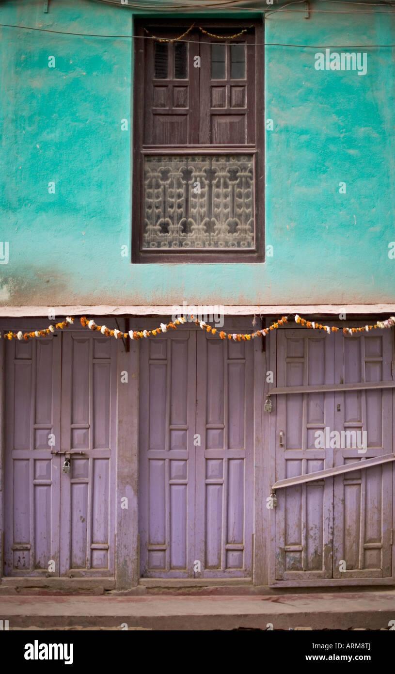 Colourful shop fronts early morning, street scene, Patan, Kathmandu, Nepal. - Stock Image