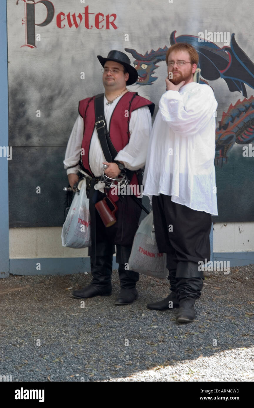 Two personages in antiques costumes, Renaissance Fair,Pennsylvania,USA - Stock Image