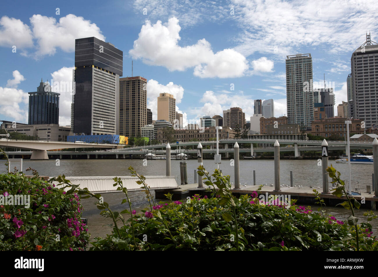 Brisbane CBD viewed from the South Bank and showing Brisbane River, Queensland,Australia - Stock Image