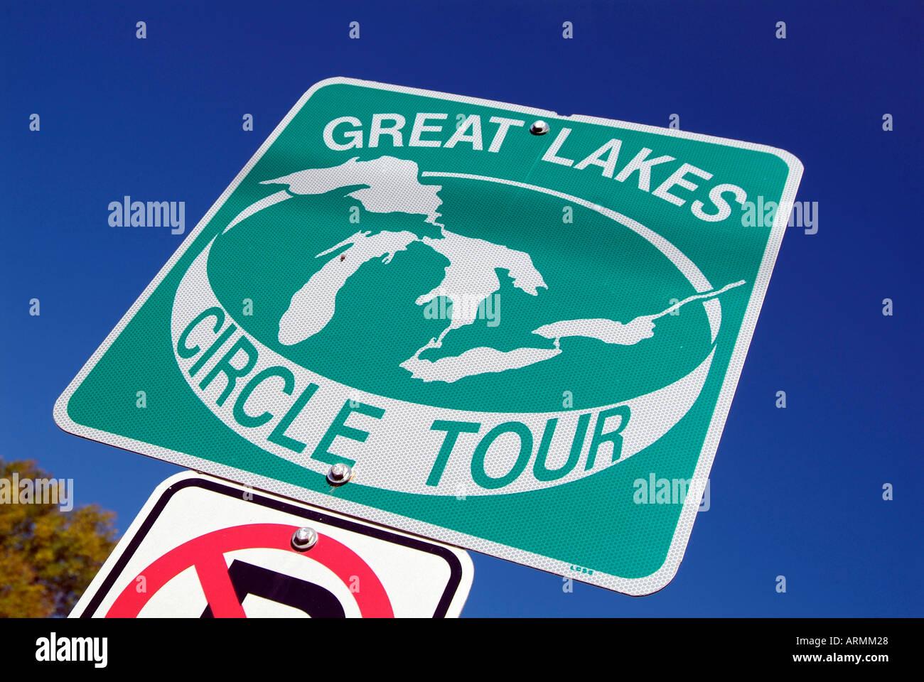 Great Lakes Circle Tour Road Sign Maps Route For Travelers Around - Lake michigan circle tour map