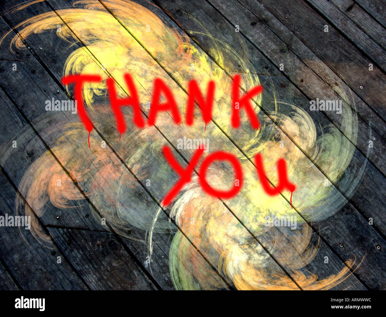 Thank you written on a wall with graffiti