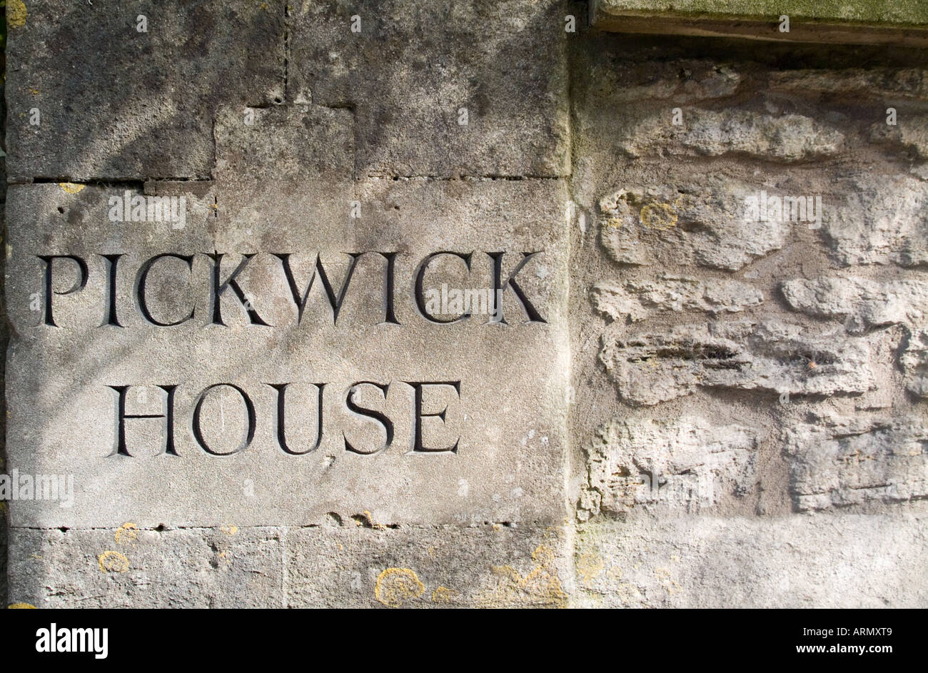 A stone house sign for Pickwick House in Corsham. Stock Photo