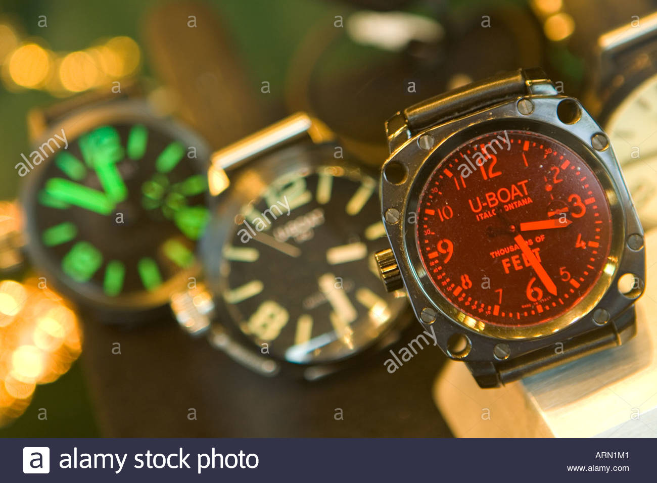 u-boat watches in a shop window on the ponte vecchio in florence - Stock Image