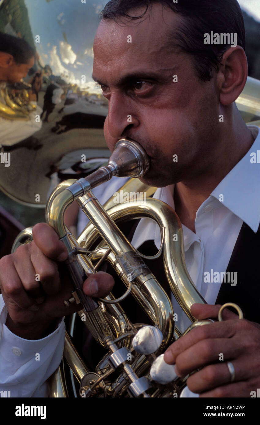 Guca Serbia Trumpet festival Aug 2002 Gypsy band member playing a tuba - Stock Image