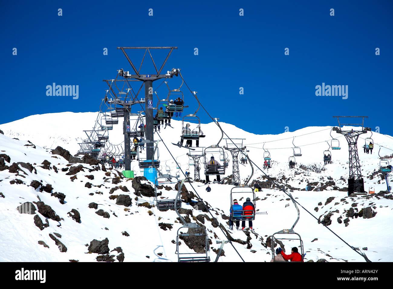 chair lift at whakapapa ski resort tongariro national park stock