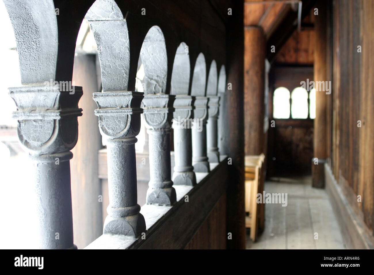 Inside the Stave Church at the open air folk museum in Bygdoy Oslo Norway - Stock Image