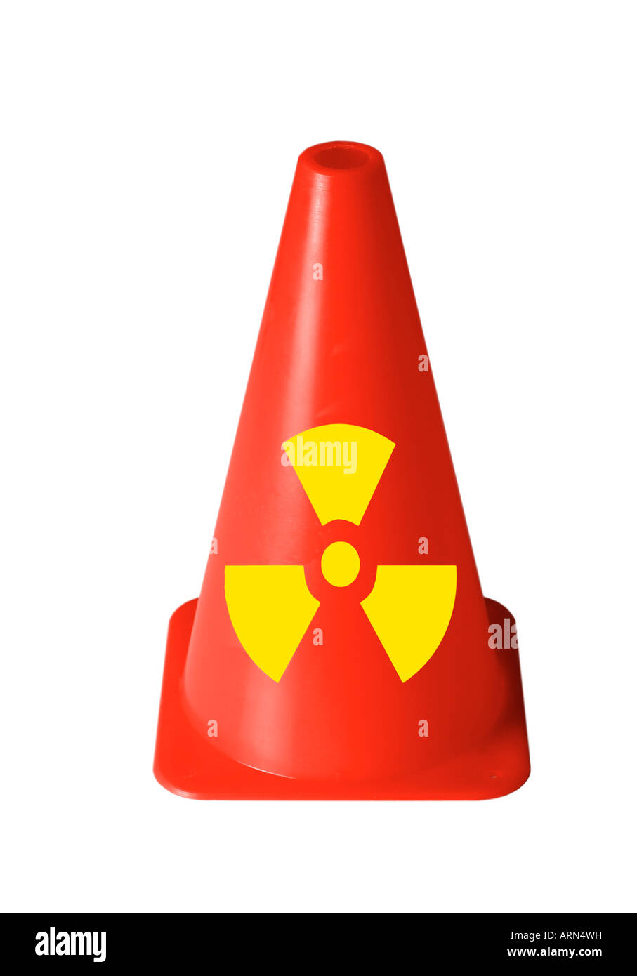 bright red safety cone with radiation sign printed on against white cutout - Stock Image