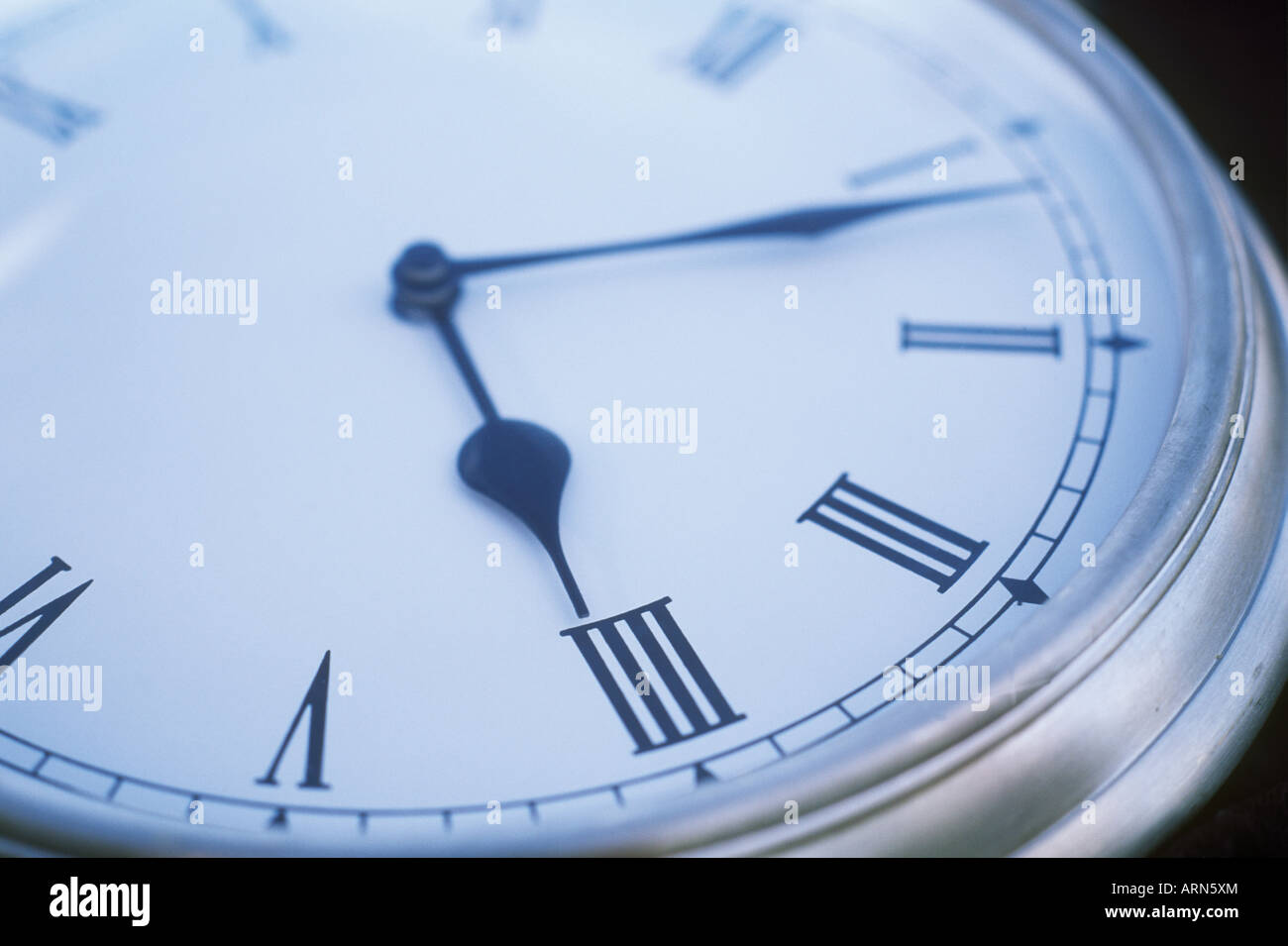 Time pocket watch with roman numerals, British Columbia, Canada. - Stock Image